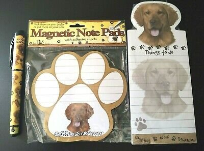 E&S Pets Golden Retriever Magnetic Note Pads Adhesive Sticky Note & Pen