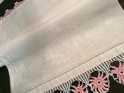 """French 17x36"""" Vtg Victorian White Huck Show Towel Damask PINK Lace Wreath Irish"""
