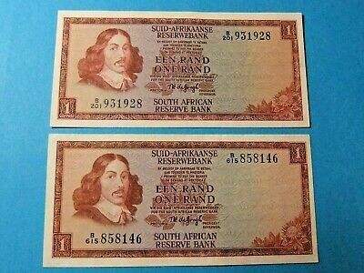 2x 1967 South Africa 1 RAND Bank Notes - AU and UNC