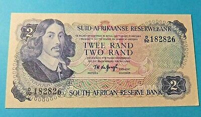 1974 South Africa 2 RAND Bank Note - UNC - Watermark Springbok