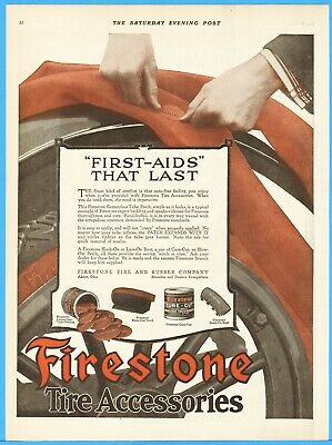 1917 Firestone Tire and Rubber Co Akron OH Accessories Tube Patches Cure-Cut Ad