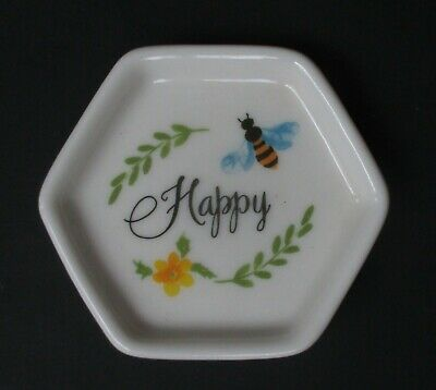 Qn Be Happy BEE INSPIRED Trinket tray ring jewelry dish tea bag holder ganz