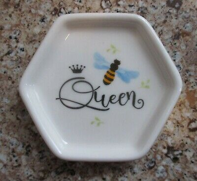 Qn QUEEN BEE INSPIRED Trinket tray ring jewelry dish tea bag holder ganz