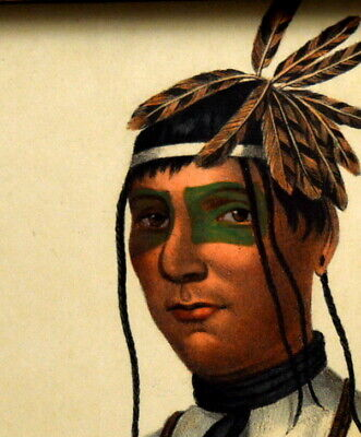 McKenney & Hall hand painted Lithograph. Caa-Tou-See an Ojibroy Native American