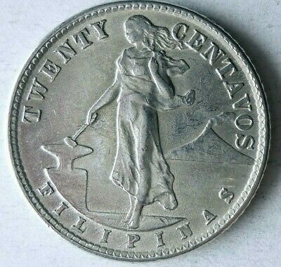 1944 D PHILIPPINES 20 CENTAVOS - UNCIRCULATED Silver Coin - Lot #M6