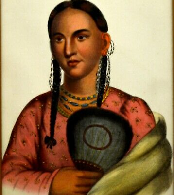 McKenney & Hall hand painted Lithograph. Rant-Che-Wai-Me a Native American