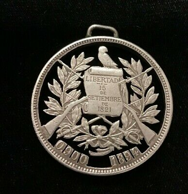 1894 Un Peso Guatemalan First Year Issue - Cut Out Pendant-90% Silver