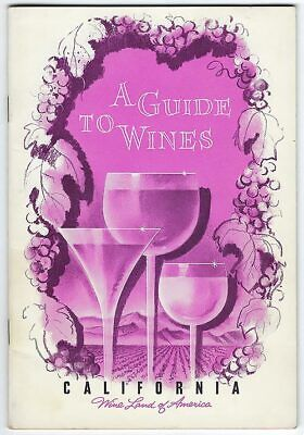 California Wine VINTAGE Booklet San Francisco GUIDE TO WINES Wine Land America