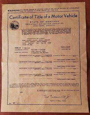 MT vintage car title 1956 Pontiac historical document for hobby purposes only