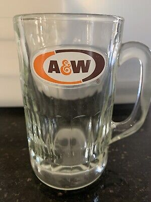 Vintage A & W HEAVY ROOT BEER GLASS MUG W/ A&W Logo Glass