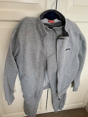 Slazenger Boys Size 11-12 Grey Zipped Tracksuit Top And Bottom, Excellent Cond