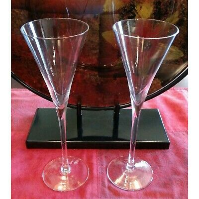 Martini & Rossi-Rare-Asti Millennium Clear Crystal Fluted Campagne Glasses-2