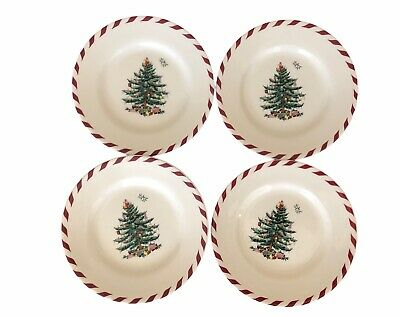 4 Spode Christmas Tree Red Candy Cane S3324-A11 small 6.5-inch dessert plate