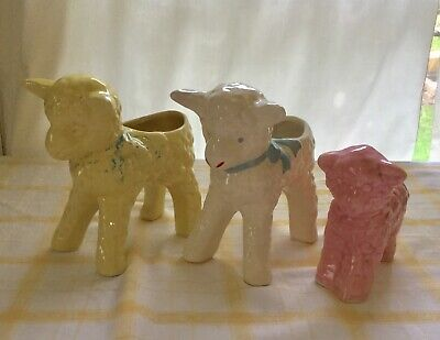 Vintage Ceramic Lamb Planter Lot of 3:  1 White w/ Blue Bow, 1 Yellow and 1 Pink