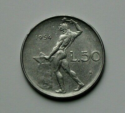 1954 ITALY Coin - L.50 Lire - Roman god of fire Vulcan (naked at anvil)