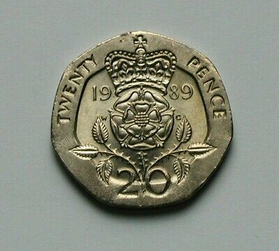 1989 UK (British) EiiR Coin 20 Pence - AU+ toned-lustre - special 7-sided shape