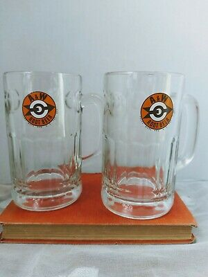 Lot of (2) Vintage A & W Root Beer Mug Bullseye Arrow Logo Heavy Glass Americana