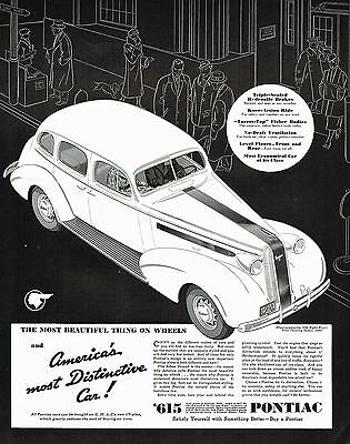 1936 BIG Original Vintage Pontiac Eight Touring Sedan Car Art Print Ad