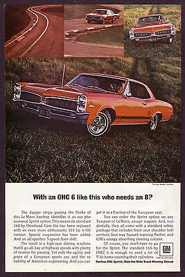 1968 Original Vintage Pontiac Le Mans Hardtop Car Photo Print Ad