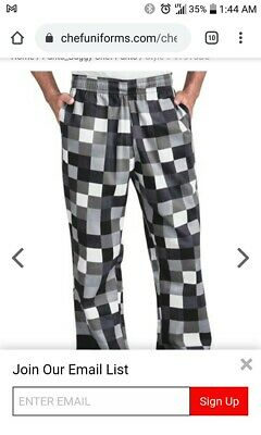 Men's Baggy Chef Pants - Checkerboard large with tags