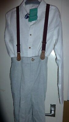 Monsoon 12 Years Boys 4Pcs White Top Grey Trousers Blue Bow Tie And Red Braces