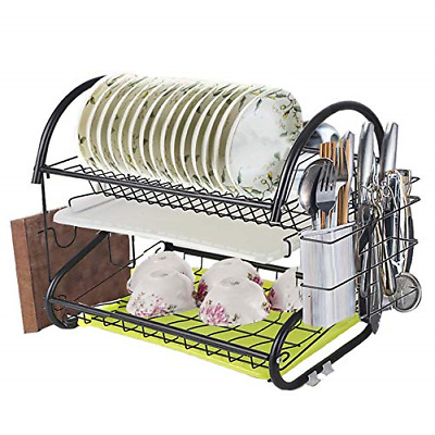 Newox 2 Tier Dish Drying Rack with Utensil Holder, Cutting Board Holder and Dish