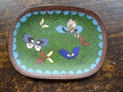 Vintage Cloisonne Oriental Butterfly Floral Pin/Trinket/Tray Dish