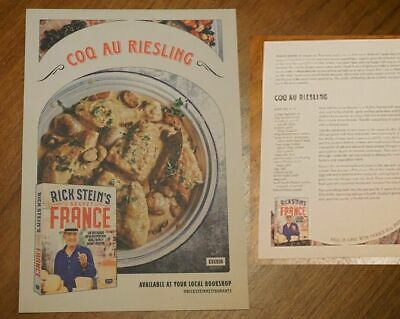 Rick Stein's Secret France DoubleSide Flyer Brochure Coq Au Riesling Recipe