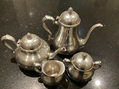 Hand Crafted English Pewter 4 piece tea set