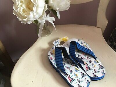 Hatley Boys Flip Flops Size 11 UK New Sailing Ships No Blisters  Kids Beach Pool