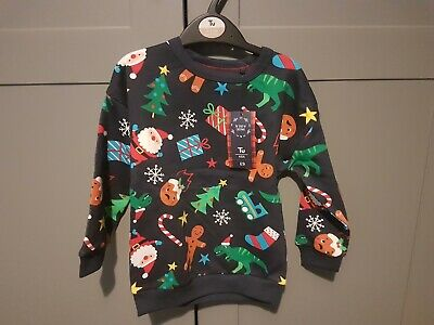 Boys TU Christmas Jumper Navy Printed Sweatshirt  Age 2-3 Years New Dinosaur