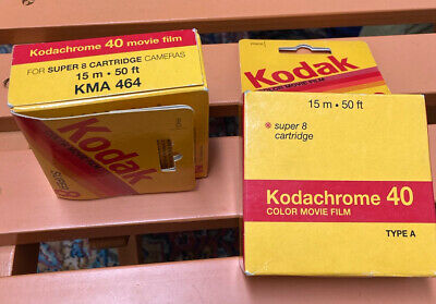 Two rolls Sealed Kodachrome 40 Color Movie Film Super 8 Cartridge Type A KMA 464