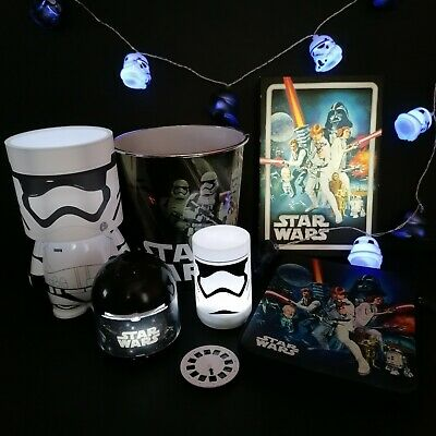 Disney Star Wars Bed Room Decor Bundle Lights Canvas Projector Bin Tablet Case