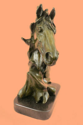 Handcrafted Horse Lovers Real Bronze Horses Head Bust Sculpture Equestrian