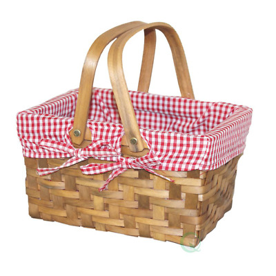 10.2 In. W X 7.7 In. D X 5.5 In. H Wooden Small Rectangular Basket Lined With Gi