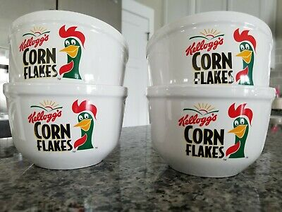 Set 4 Kellogg's Corn Flakes Rooster Ceramic Cereal Bowls- 1999