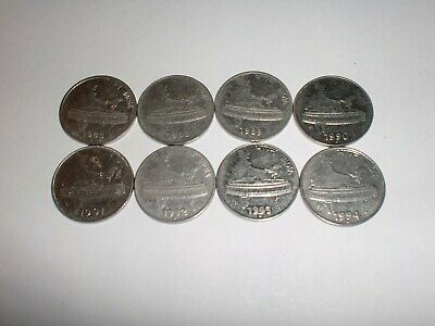 "- India Coins Lot Of  8 X  ""50 Paise""  Circulated - Rare- 1988C - 1994 #P/7Q7/11"