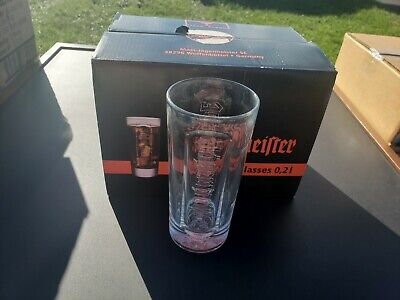 F Jagermeister Lot of 6 Tall Drink Glasses   New