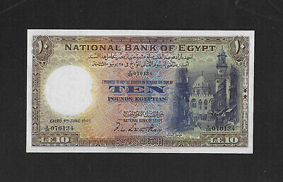 VF+ / EF- sign. Ross 10 pounds 1948 EGYPT Britain