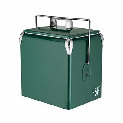 """"""" Green Stainless Steel Cooler, Plastic Lined, Vintage Style Beer and Wine Coole"""