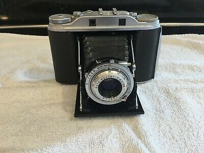 vintage agfa isolette camera apotar 1:4.5/85m with leather case