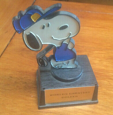 Vintage Snoopy Peanuts Trophy Hand painted By Aviva Worlds Greatest Golfer