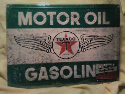 "New Reproduction of Vintage Texaco metal/tin 12""x17"" classic winged Logo"