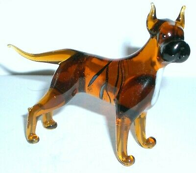 "Hand Blown ""Murano"" Glass Collectable  American Pit Bull Terrier Dog  Figurine"