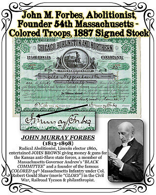 John M. Forbes Abolitionist Founder 54th Mass. Colored Troops, 1887 Signed Stock