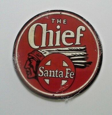 New Mexico metal tin sign poster art Sante Fe Super Chief train on Raton Pass