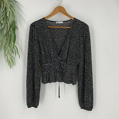 Contrast Chiffon and Knit Mixed Top Round Neck Long Sleeve Casual Black S M L