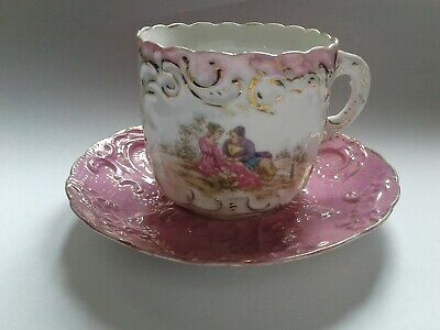 Allerton Fine Bone China Cup and Saucer PINK Lustre