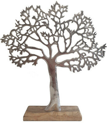 Fantastic Tree of Life Large Silver Wood Base Home Ornament