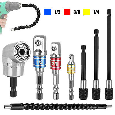 """105 Right Angle Drill Adapter Flexible Shaft Extension Set 1//4/"""" Hex Shank K7O1."""
